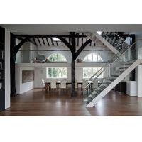 Buy cheap steel mono glass staircase / wood steps glass railing stairs /L shape steel wood staircase product