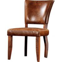 Buy cheap Brown Vintage Leather Dining Chair 100% Solid Wood Frame Home Furniture  product