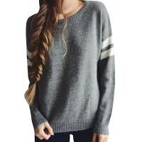 Buy cheap Trendy Crew Neck Long Sleeve Sweater , Knit Strips Boyfriend Pullover Sweaters product