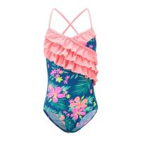 Buy cheap Floral Prints Pink Ruffles Little Girl Swimsuits , Spaghetti Strap Swimsuit Summer Design product