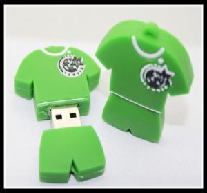 Quality offer OEM PVC/silicone custom logo usb pen drive football T-shirt usb flash for sale