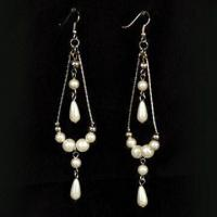 Buy cheap Nickel-free Drop Earrings in Fashionable Design, Made of Metal and Plastic Stones product