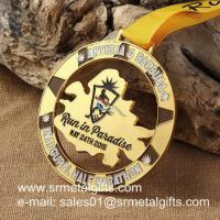China Cut-out Half Marathon run medal with color filled, carved metal medallions wholesale