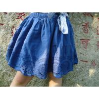 Buy cheap Blue Embroidery Cotton Little Girls Denim Skirt , Eyelet Girls Summer Skirts With Bow product