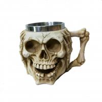 Quality 400ml skull polyresin double side stainless steel mug for sale