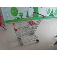 China Customized 80L Metal Shopping Trolley With Red Plastic Parts , Grocery Shopping Cart wholesale