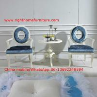 Buy cheap Leisure fabric with white painting solid wood chair in Neoclassical design and cocktail end table product
