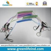 China Transparent Blue Green Pink Coil Steel Lanyard w/End Fittings High Quality Retracting Coil Cable w/Heavy Duty Hook on sale