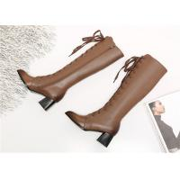 Buy cheap Pointed Toe Womens Knee High Lace Up Boots , Soft Leather Knee High Heel Boots product
