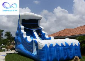 Buy cheap Commercial 6.5 Meters High Blue Wavy Inflatable Water Slide For Outdoor Summer Fun product