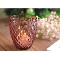Buy cheap Diamond Votive Handmade Glass Candle Holders , Glass Candle Jars Spraying Color Finish product