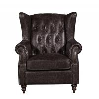 Retro Distressed Leather Winged Armchair, High Back Upholstered Chairs With Arms