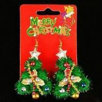Buy cheap Earrings in Various Colors, Decorated with Christmas Tree, Measures 7 x 3.5cm product