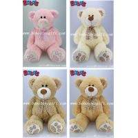 Quality Toy,Plush Toy,Plush Stuffed Toy Beige Teddy Bear with Check Design Scarf and Paw and ear for sale