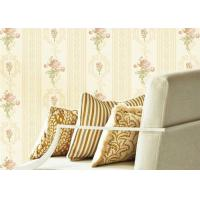 Buy cheap Concise European Flower Strippable Living Room Wallpaper With Vertical Striped product