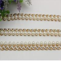 Buy cheap Precise design high end pearl and diamond style light gold 90 mm length purse metal chains product