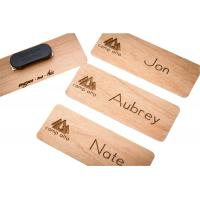 Buy cheap custom luxury wood material engraved magnet name badges manufacturer for sale product