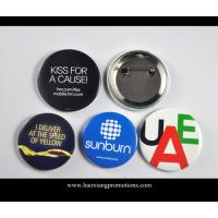 Buy cheap Custom Full Color Printed Logo Clear Lamination Round Tin Button Badge product