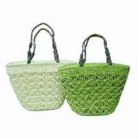 China Airy design straw bags with wooden beads handle on sale