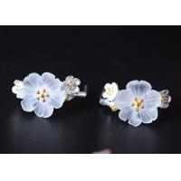 Buy cheap Ancient Style Sterling Silver Crystal Earrings in Plum Blossom Shape product