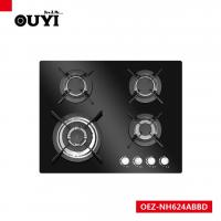 China OUYI Black Tempered Glass 4 Different Size Sabaf Burner Gas Stoves on sale