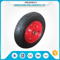 Buy cheap Carbon Steel Pneumatic Rubber Wheels Ball Bearing , Pneumatic Wagon Wheels OEM product