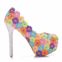 2018 Custom Fashion The Same Style Lace Colorful Flowers Sexy High Heels Shoes