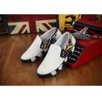 Buy cheap Elastic Tape Totem Patterns Canvas Sneakers Shoes Mens White Canvas Trainers No Lace product