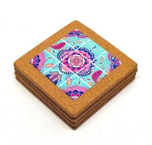 China Wholesale 15*15cm Ceramic Trivet with Cork Holder for Home Decoration on sale