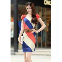 Buy cheap Round Neck Short Sleeve Women Office Dress Flowers Shoulder Blocked Colors product