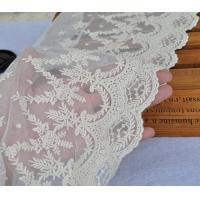 China Beige Floral Embroidery Mesh Lace Ribbon Trim , Cotton Nylon Tulle Lace Trim on sale