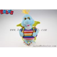 "Quality 10""Cute Blue Cartoon Stuffed Dinosaur Plush Toy With Colorful Overalls for sale"