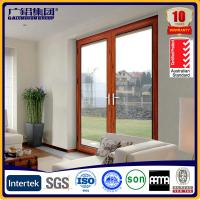 Buy cheap wooden color aluminium glass double sashes swing doors product
