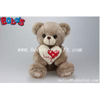 Buy cheap Dark Brown cute plush bear with heart printting ribbon and feet in 3 sizes product