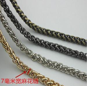 Buy cheap Super quality cheaper twist flower light gold 7 mm width iron metal handbag chain product