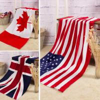 Towel Wholesale pure cotton Bath towel Beach Canadian flag   American flag British flag