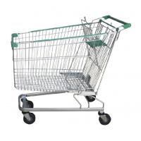 China German Design Chromed Hand Metal Supermarket Grocery Shopping Trolley 240L wholesale