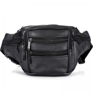 Buy cheap Black Men Leather Travel Waist BagLining 210 D 4 Zipper Pocket Adjustable Strap product