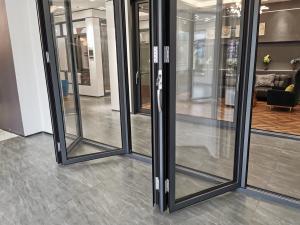 Buy cheap Double Tempered Glass Black Aluminum Bifold Doors , Sliding Folding System Doors product