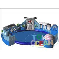 Blue Inflatable Floating Water Park For Kid / Commercial Inflatable Amusement Park