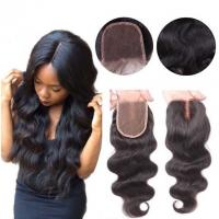 China Middle Part Human Hair Lace Closure With Baby Hair 4x4 Natural Color Body Wave on sale