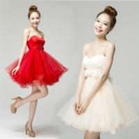China Sexy Sweetheart Short Prom Dress 2014 Red/Champage Off Shoulder Lace-up Organza Girls Ball Gown Dress with Flower on sale
