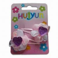 Buy cheap Hair BP Clips, Made of Metal, Resin/Ribbon, Customized Designs are Accepted, Suitable for Children product