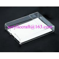 China Lucite Tabletop Organizer Acrylic Notepad Holder Clear Plexiglass Memo Pad Holder on sale