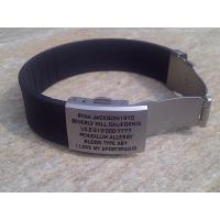 Buy cheap Shenzhen manufacture unique QR wristband / silicone ID bracelet with metal plate,various color product