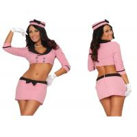 Buy cheap Pink Double Breasted Holiday Party Adult Costumes With Hat Top Skirt Gloves product