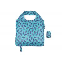 Buy cheap 190 T Eco Friendly Foldable Reusable Shopping Bags Blue Nice Leaf With Logo Tag And Botton product