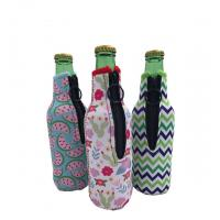 Buy cheap Sublimation Printing Neoprene Single Beer Bottle Cooler with zipper for Promotion Gift size is 19cm*6.3cm, SBR material. product