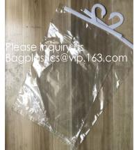 Buy cheap Custom Logo Printing EVA Garment Underwear Clothes Packaging Transparent Button Pvc Soft Plastic Hanger Hook Bag, BAGEAS product