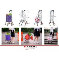 China Aluminum folding shopping cart with stair climbing wheels for personal in supermarket, grocery store and farmer markets on sale